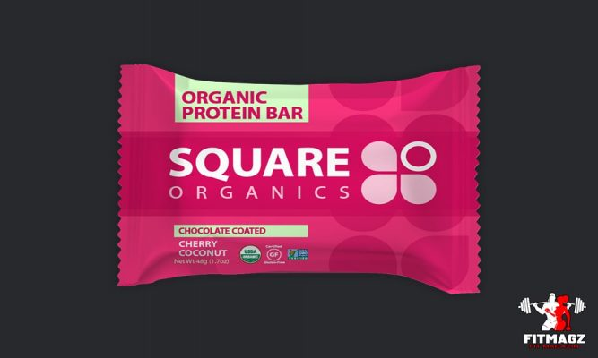 Square Bar Organics Chocolate Coated Cherry Coconut